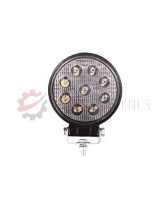 Lampa robocza ledowa okrągła, 9 LED 12-24V, 9x3W, fi116mm