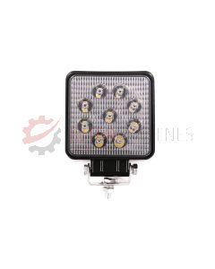 Lampa robocza ledowa prostokątna, 9 LED, 12-24V, 9x3W, 109x109 mm
